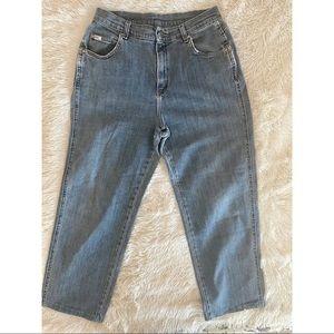 Vintage Lee mid wash distressed denim mom jeans